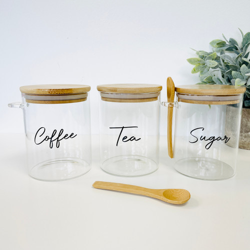 Set of 3 Round Bamboo Glass Jars With 2 Spoons - 0.8L