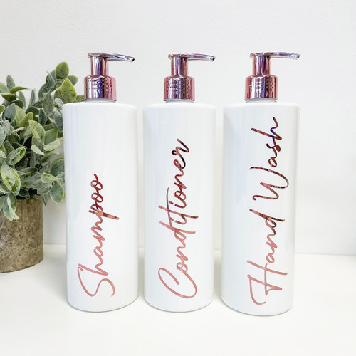 White/ Rose Gold Pump Dispenser Bottles