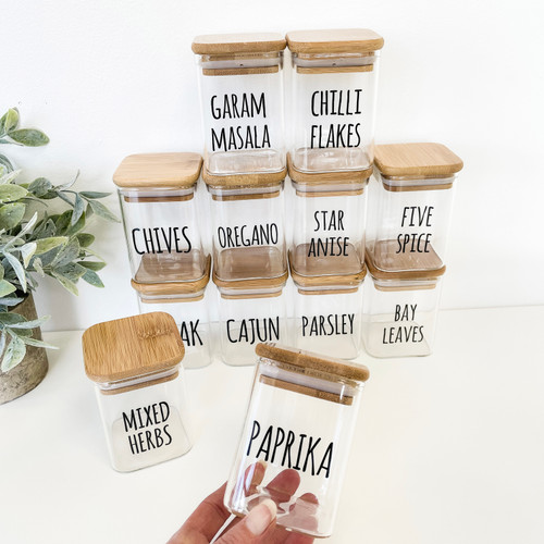**NEW** Square Bamboo Spice Jars