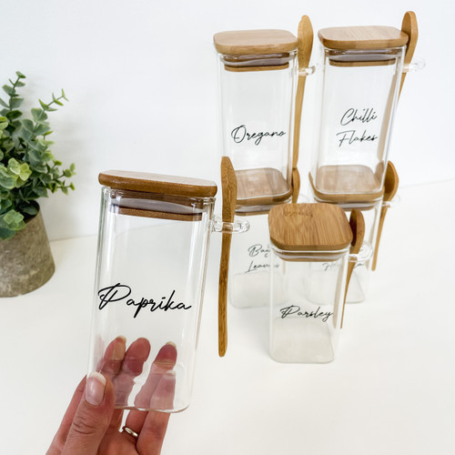 Square Glass Spice Jar with Bamboo Lid & Spoon 0.3 Litre Eco Friendly