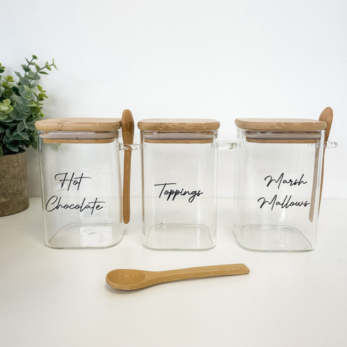 Hot Chocolate Set - Set of 3 0.5L Square Glass Jars With Spoons