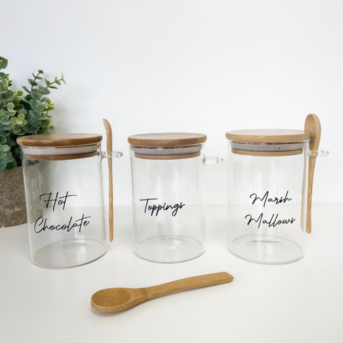Hot Chocolate Set - Set of 3 0.5L Round Glass Jars With Spoons