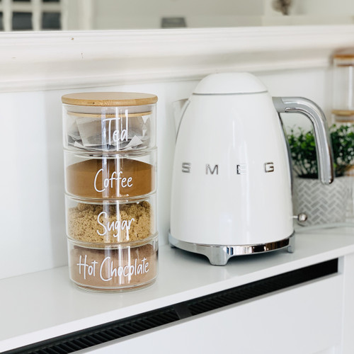 GRAB A BARGAIN - 4 Tiered Stacked Glass Jar with Bamboo Lid
