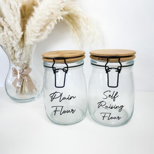 Bamboo Clip Lid 1000ml 1L Glass Jar