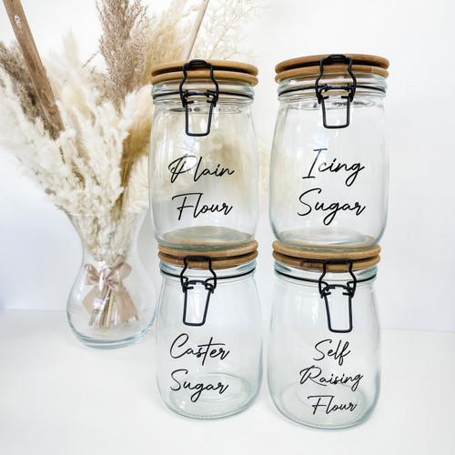 Bamboo Glass Clip Top Jar Baking Bundle