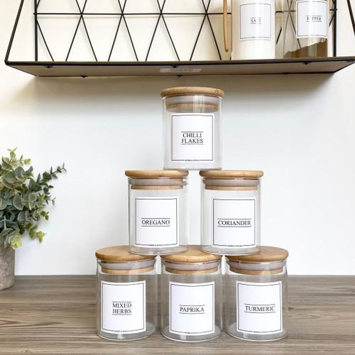 Minimal Round Glass Bamboo 200ml Spice Jars