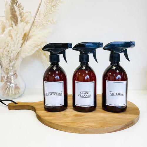 Minimal 500ml Amber Spray Bottles