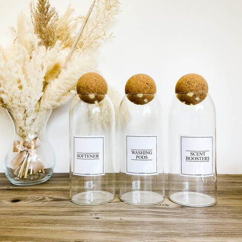 Minimal Corked Ball Glass Jars - Laundry, Cleaning & Bathroom