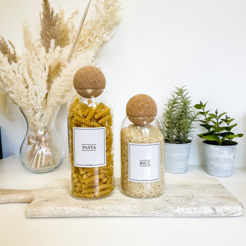 Minimal Corked Ball Glass Jars - Kitchen Pantry