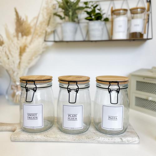 Minimal Bamboo Clip Lid Glass Jars 1L