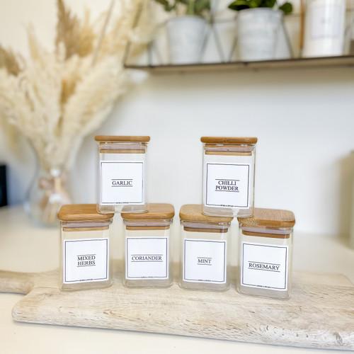 Minimal Square Glass Bamboo 200ml Spice Jars