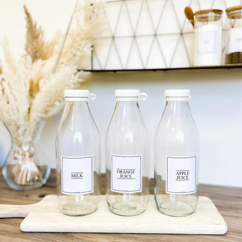 Minimal 1L Farmhouse Style Glass Bottle