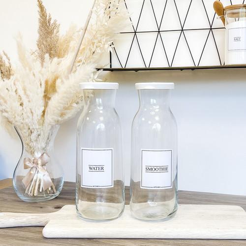 Minimal Carafe Glass Bottle - 2 Sizes Available