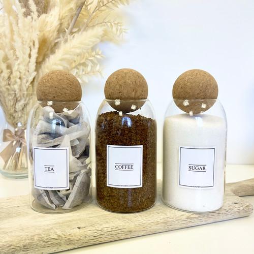 Minimal Set of 3 Corked Ball Glass Jars - Tea Coffee sugar Set 0.8L