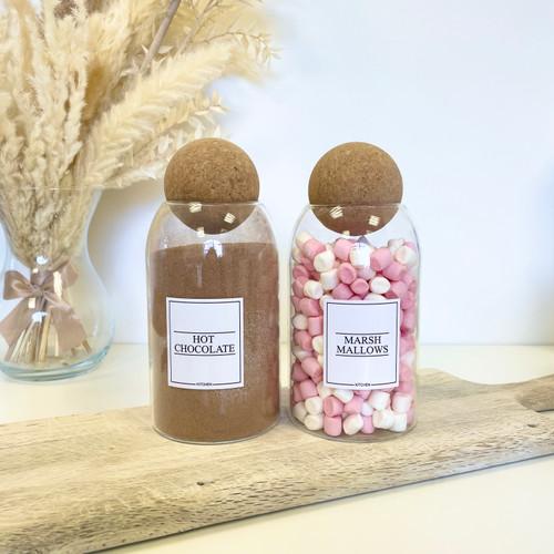 Minimal Set of 2 Corked Ball Glass Jars - Hot Chocolate Set 0.8L