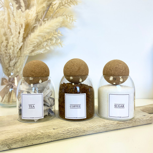 Minimal Set of 3 Corked Ball Glass Jars - Tea Coffee sugar Set 0.5L