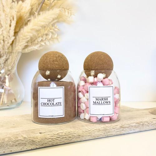 Minimal Set of 2 Corked Ball Glass Jars - Hot chocolate Set 0.5L