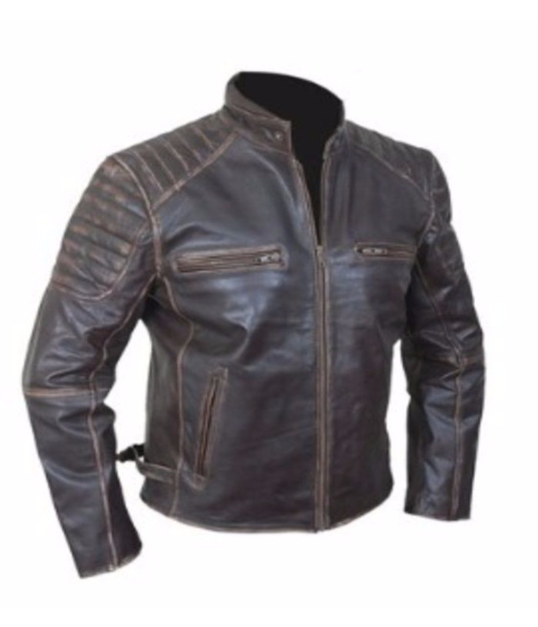 93f4dc5a6be Men s Vintage Cafe Racer Biker Genuine Brown Leather Jacket ...