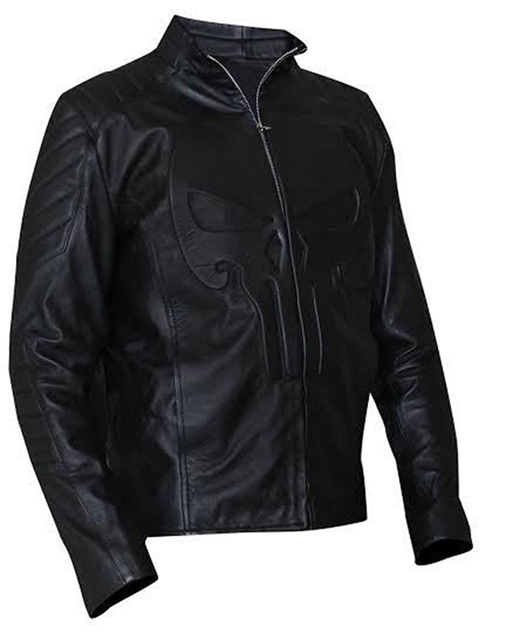 Punisher Skull Embossed Men/'s Emblem Black Faux Leather Biker Jacket