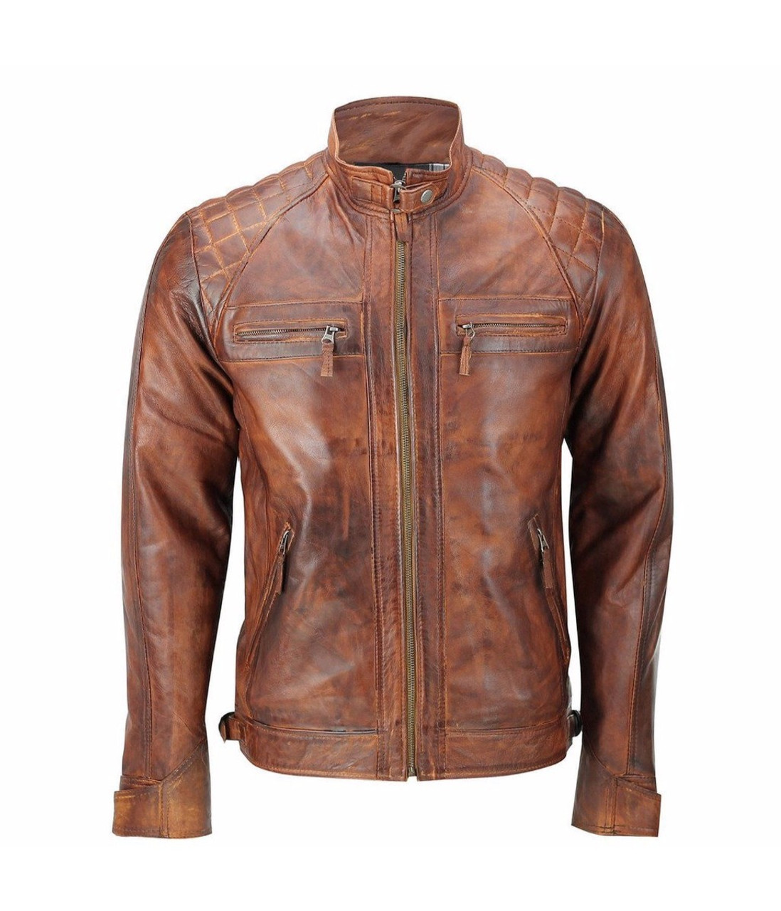 Mens Vintage Biker Style Brown Motorcycle Cafe Racer Distressed Leather Jacket