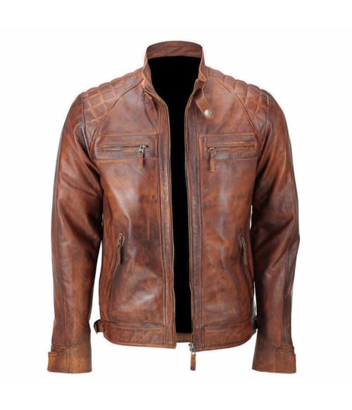 d7c586d27a64 ... Men s Biker Quilted Vintage Distressed Motorcycle Cafe Racer Leather  Jacket 3