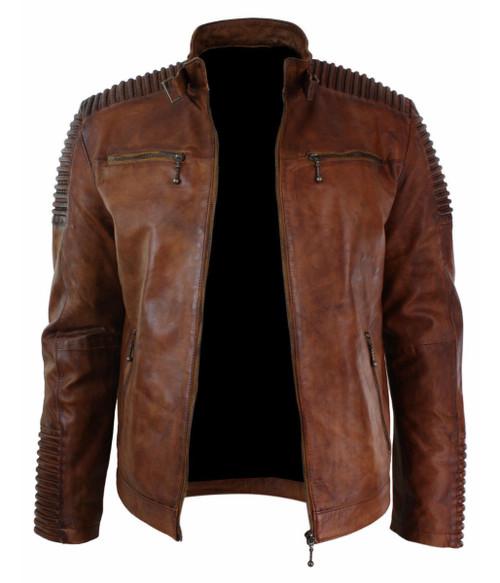 ddf44260e8c6 ... Men s Biker Vintage Motorcycle Distressed Brown Cafe Racer Leather  Jacket 3