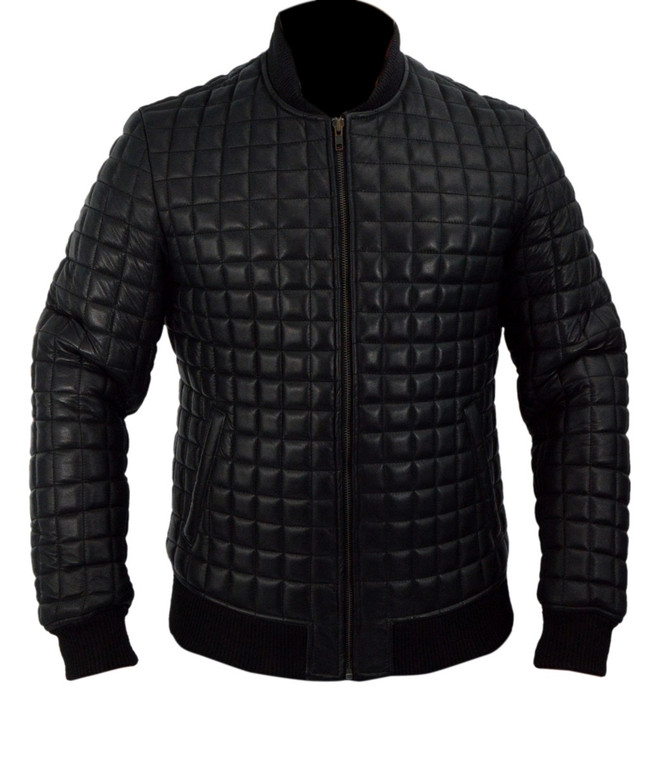 Usher Black Bomber Genuine Leather Jacket Quilted