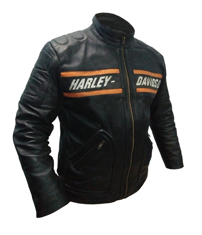 Bill Goldberg Harley Davidson Biker Leather Jacket Black1