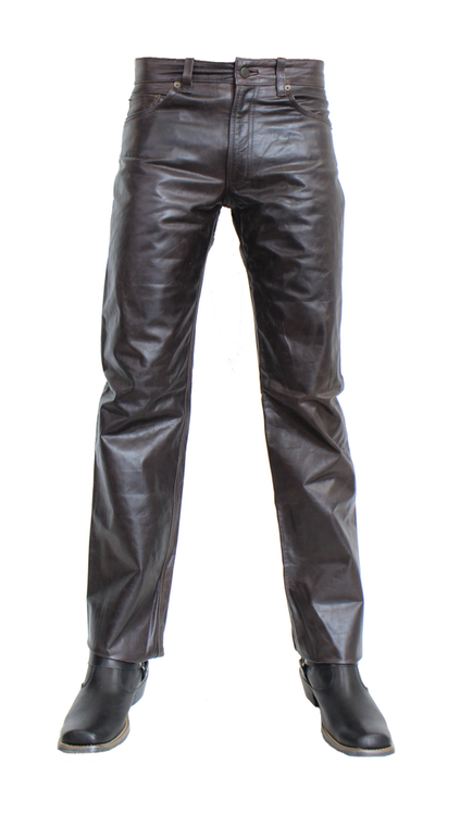 Staight Leg leather black trouser front