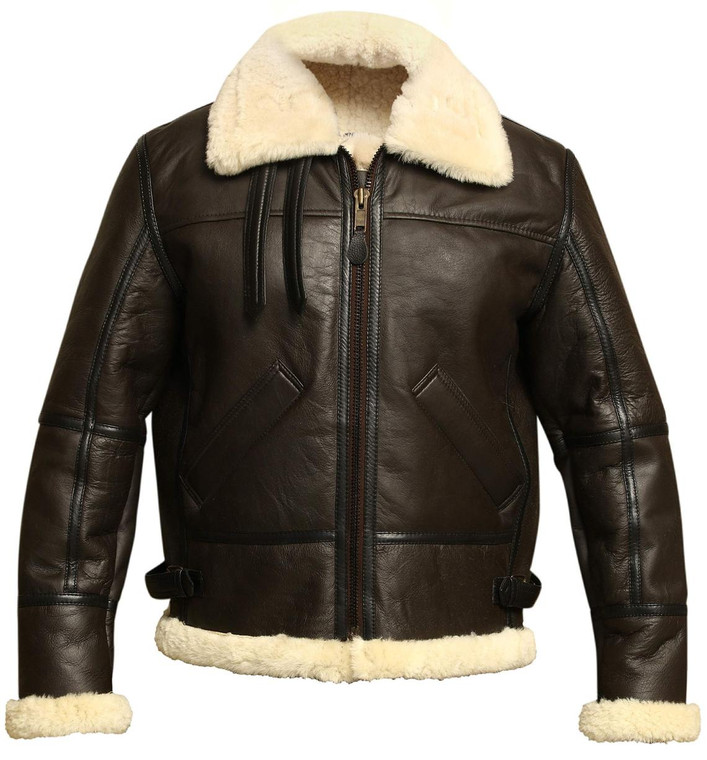 CLEARANCE: B3 Flight Leather Jacket with Faux Shirling- Brownfront zip closed