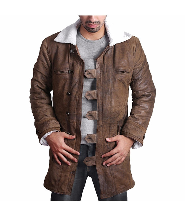BANE Coat 'Tom Hardy - Dark Knight Rises' Vintage Distressed Look Leather Jacket 1