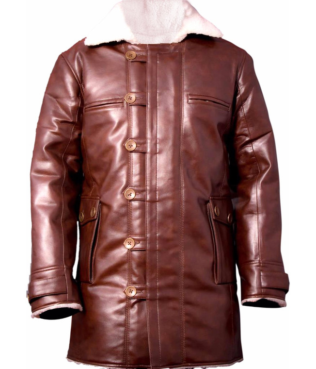Bane Faux Leather Coat Shearling 1