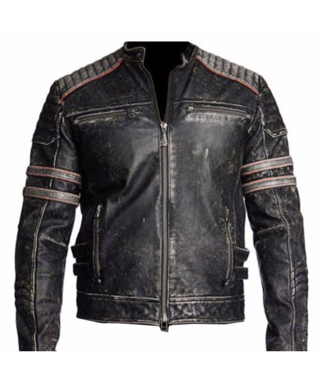 Men's Biker Vintage Motorcycle Distressed Black Retro Leather Jacket 1