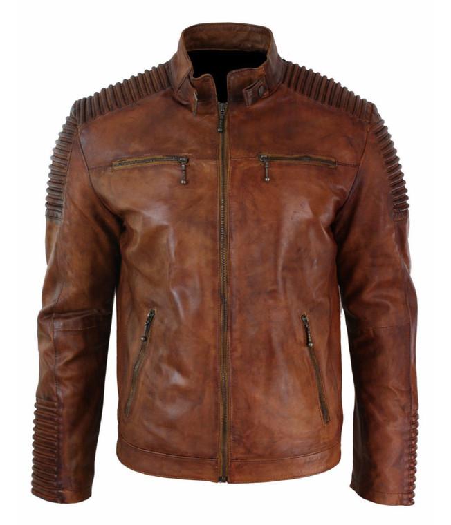 Men's Biker Vintage Motorcycle Distressed Brown Cafe Racer Leather Jacket 1