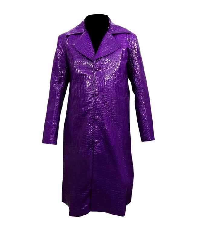 Jared Leto Suicide Squad Joker Crocodile Texture Purple Synthetic Coat 1