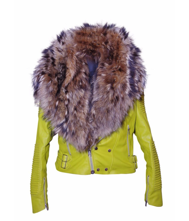 Women's Sheepskin Leather Jacket Lime Color with Genuine Fox Fur 1