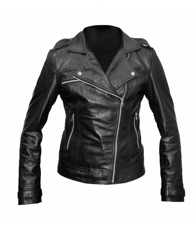 Women Perfect Black Leather Biker Style Jacket 1