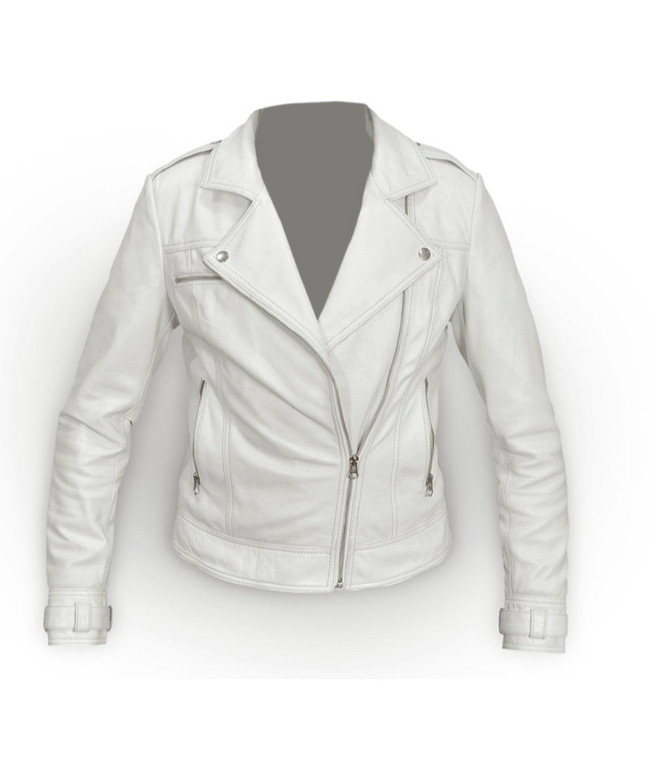 Women Perfecto White Leather Jacket 1