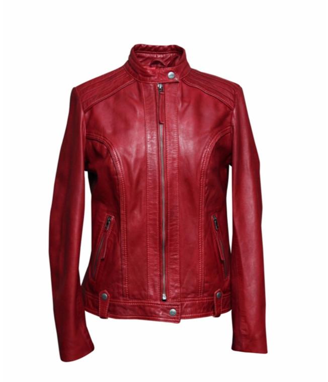 Women's Waxed Sheepskin Red Leather Jacket 1