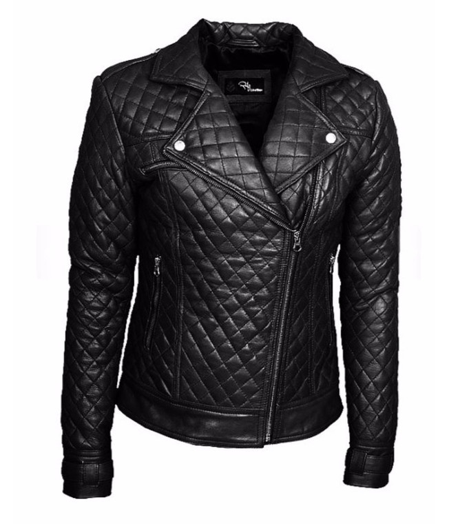 Women's Perfecto Quilted Black Genuine Leather Jacket 1