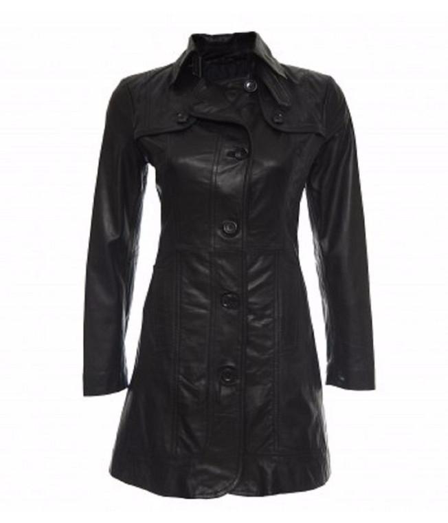 Women's Fashion Leather Coat Black Color 1