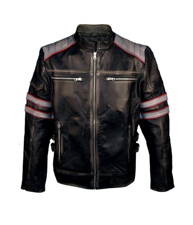 Mens Biker Leather Jacket Black 1