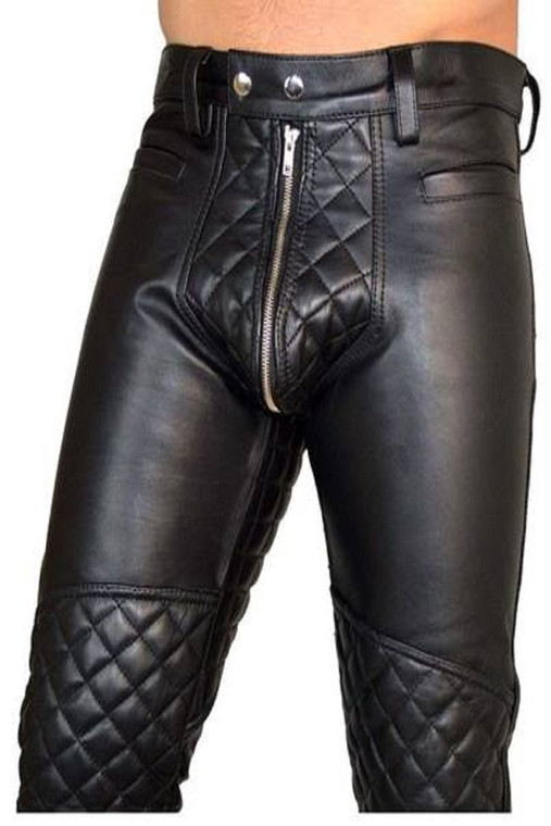 Men's Real Leather Bikers Pants With Quilted Design Trousers