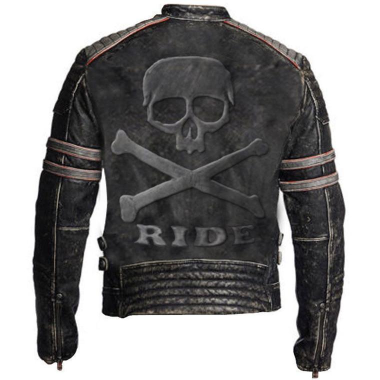 Biker Vintage Distressed Genuine Leather Jacket Skull Embossed Logo at back