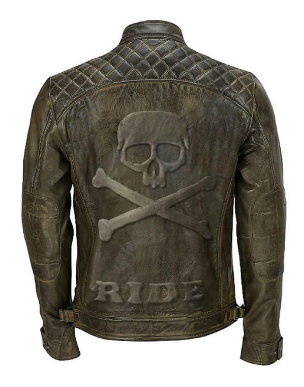 Skull Embossed Classic Diamond Biker Khaki Genuine Leather Jacket