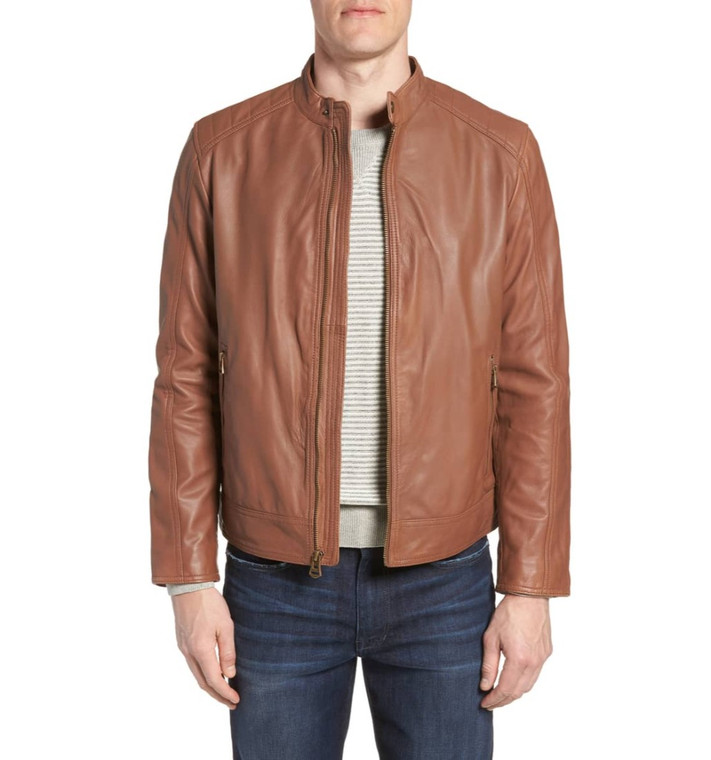 Men's Biker Style Motorbike Genuine Leather Jacket