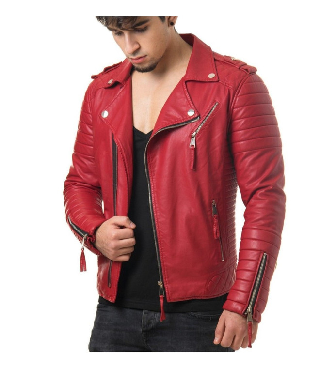 Men's Biker Style Motorbike Genuine Leather Jacket BK002
