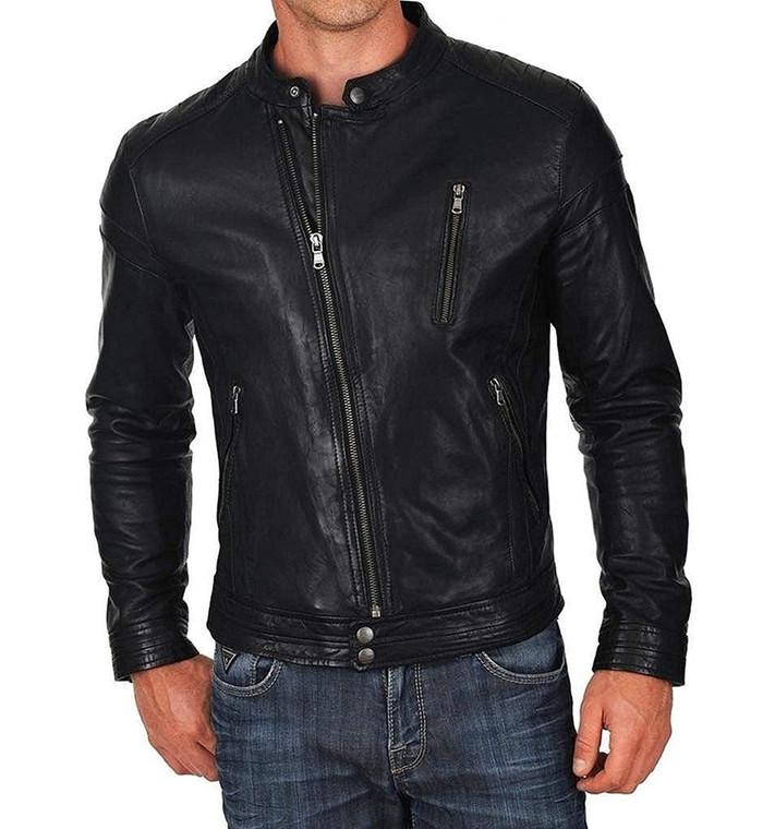 Men's Biker Style Motorbike Genuine Leather Jacket BK040