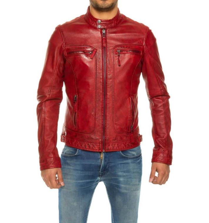 Men's Biker Leather Jacket Red Waxed