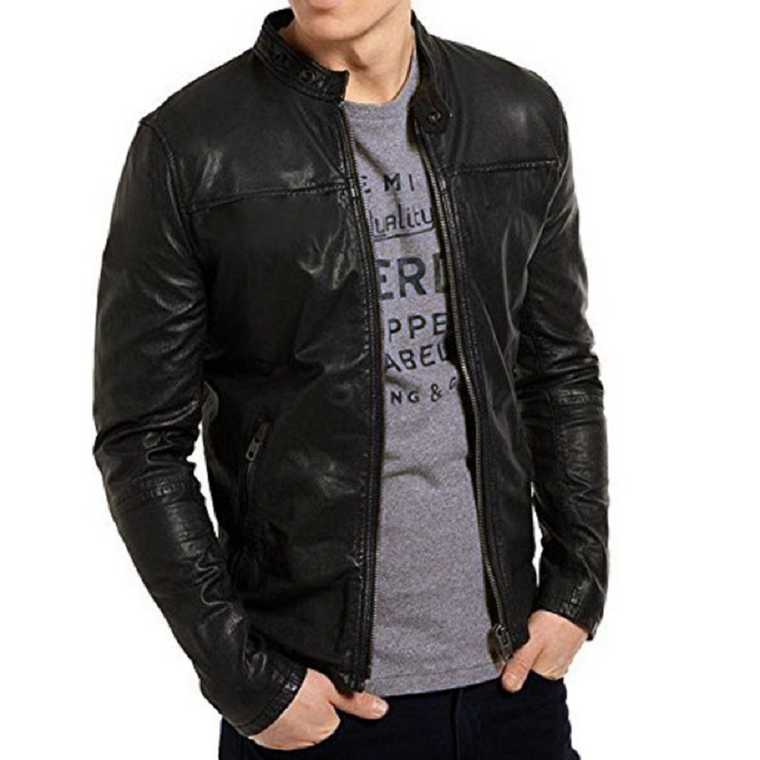Men's Fashion Genuine Leather Jacket FSH046